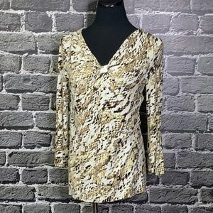 Dana Buchman Animal Print Rayon Top Sz S